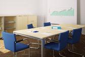 Sala de reuniones con sillas azules y rotafolio closeup — Foto de Stock