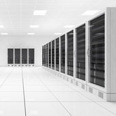 Datacenter with two rows of computers central view — Stock Photo