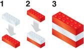 Building blocks making Austrian flag — Stock Vector
