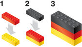 Building blocks making German flag — Stock Vector