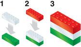 Building blocks making Hungarian flag — Stock Vector