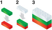 Building blocks making Bulgarian flag — Stock Vector
