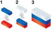 Building blocks making Russian flag — Stock Vector