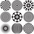 Black and white Optical Art — Stock Vector