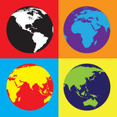 Pop Art world globes — Vector de stock