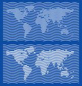 Coarse World Map Guilloche Designs — Stock Vector