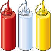 Isometric Vector Illustration of Ketchup, Vinegar and Mustard Bottles — Stock Vector