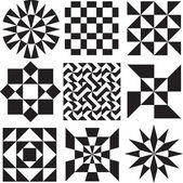 Geometric Patterns in Black and White — Stock Vector