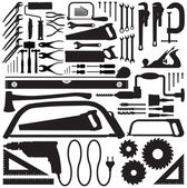 Tool collection vector silhouettes — Stock Vector