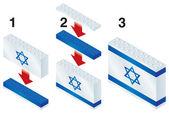 Building blocks making Israeli flag — Stock Vector