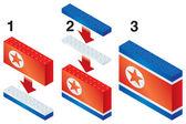 北朝鮮の旗を作るブロックを構築 — ストックベクタ