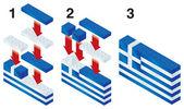 Building blocks making Greek flag — Stock Vector