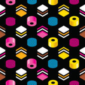 Seamless Liquorice Allsorts Background Texture — Stock Vector