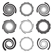 Collection of optical art spirals with rounded edges — Stock Vector