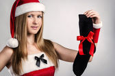 Maiden with the best gift for men — Stock Photo