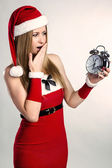 Surprised Snow Maiden with alarm — Stock Photo