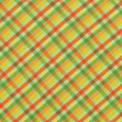 Green Yellow Orange Plaid Fabric Background — Stock Photo