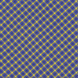 Blue Yellow and Black Diagonal Plaid Fabric Background — Stock Photo #26847461