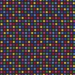 Red Blue Green Polka Dots On Black Textile Background — Stock Photo #26847815