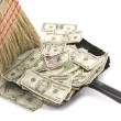 Stock Photo: Broom Sweeping Up AmericCurrency