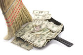Broom Sweeping Up American Currency — Stock Photo