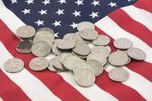 Pile of Coins On American Flag — Stock Photo