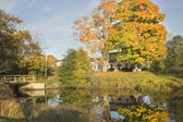 House Reflection In Pond Autumn Bristol Maine — Stock Photo