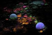 Computer generato sfondo immagine nero di frattale pianeta sfera — Foto Stock