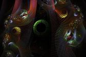 コンピューターで生成されたフラクタル アート イメージ緑球ピンク黒の背景 — ストック写真