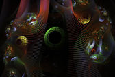 Oluşturulan bilgisayar fractal sanat resim küreler yeşil pembe siyah zemin — Stok fotoğraf