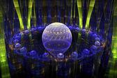 Fractal arte abstrata esferas arte moderna computador imagem azul verde — Foto Stock