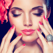 Beautiful woman with trendy make-up and manicure — Stock Photo