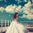 Beautiful bride in white dress  — Stock Photo