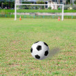 Football (soccer) goals and ball on clean empty green field in b — Lizenzfreies Foto