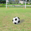 Football (soccer) goals and ball on clean empty green field in b — Stok fotoğraf