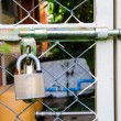 Chain link fence and metal door with lock  — ストック写真