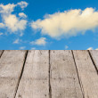 Abstract the old wood floor and sky for background. — Stock Photo