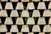 Concrete railway sleepers piled — Stock Photo