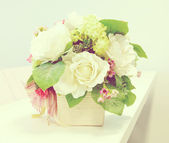 Bouquet of flowers autumn in a vase in vintage style — Stock Photo