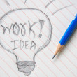 Lightbulb Idea Business Note with Pen — Stock Photo