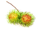 Bunch of rambutan, asian fruit, on white background — Stock Photo