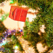 Gift box and christmas tree for christmas day and happy new year — Stock Photo #37770553