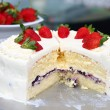 Stock Photo: Milk cake with topping  strawberry.