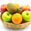 Stockfoto: Group of fresh fruits in basket