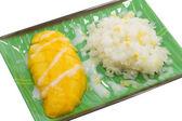 Sticky rice with ripe mango — Stock Photo