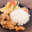 Teriyaki pork with rice — Stock Photo