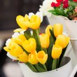 Artificial yellow tulips — Stock Photo