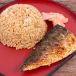 Stock Photo: Grilled fish sabwith fried rice