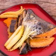 Stock Photo: Salmon Kabutoni Japanese food