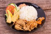 Teriyaki pork with rice — Zdjęcie stockowe